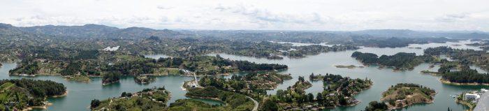 Ausblick vom Peñol über die Seenplatte von Guatapé