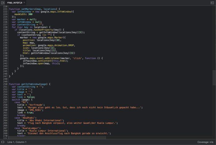 Händischer Eintrag in der JS-Datei